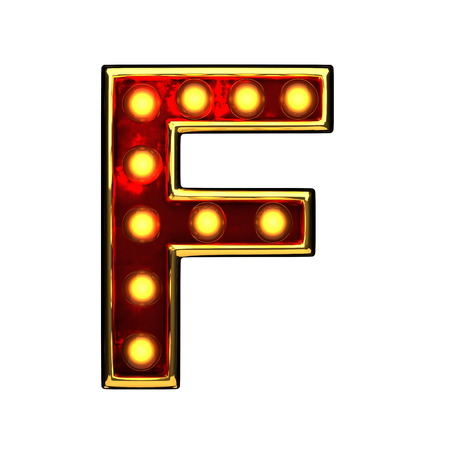 alight: f isolated golden letter with lights on white. 3d illustration