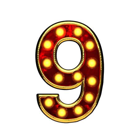 alight: 9 isolated golden letter with lights on white. 3d illustration
