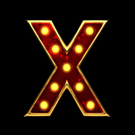 x isolated golden letter with lights on black. 3d illustration Stock Photo