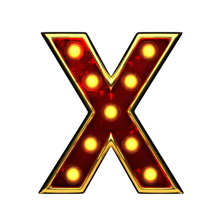 x isolated golden letter with lights on white. 3d illustration Stock Photo