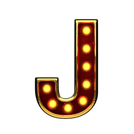 j isolated golden letter with lights on white. 3d illustration Stock Photo