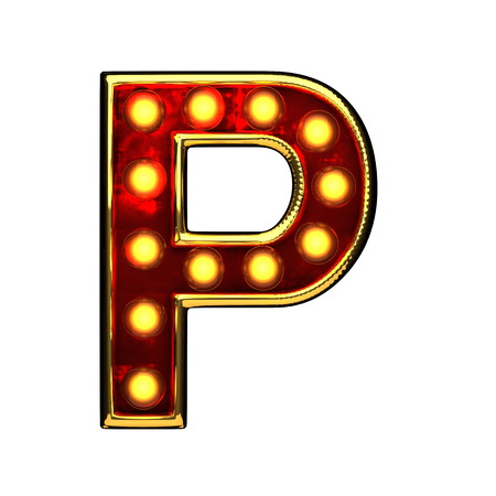 alight: p isolated golden letter with lights on white. 3d illustration Stock Photo