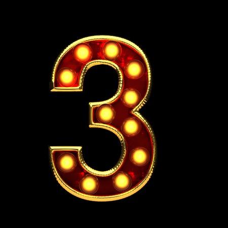 alight: 3 isolated golden letter with lights on black. 3d illustration