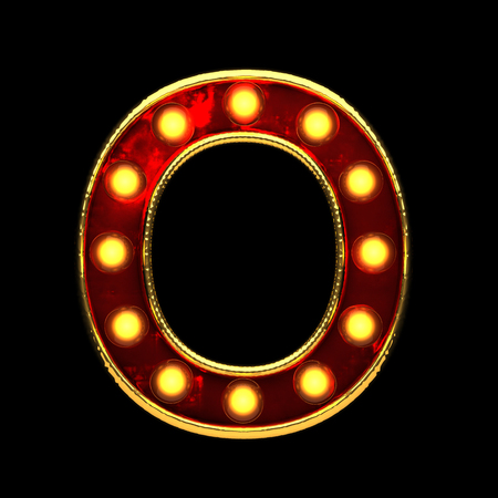 o isolated golden letter with lights on black. 3d illustration
