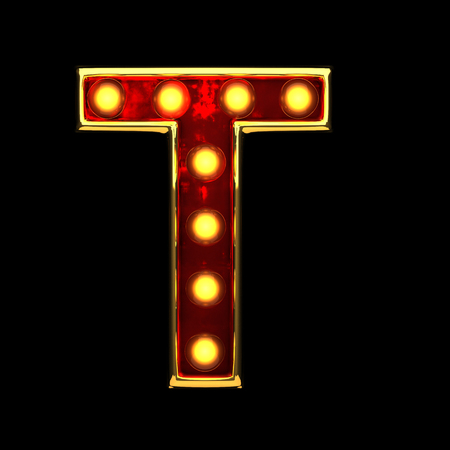 alight: t isolated golden letter with lights on black. 3d illustration Stock Photo
