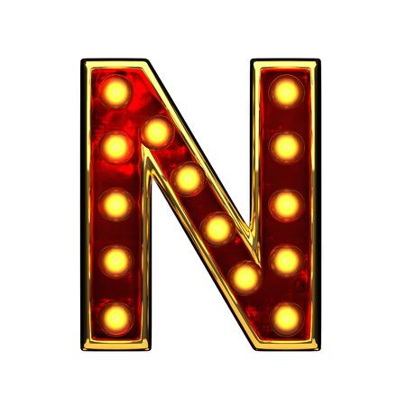 alight: n isolated golden letter with lights on white. 3d illustration