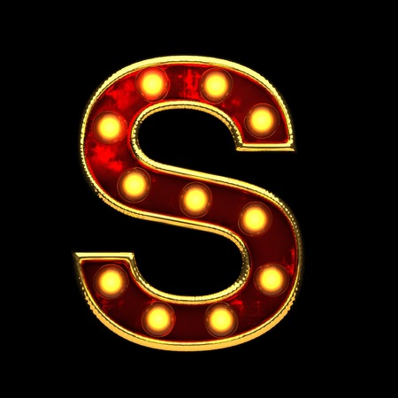 s isolated golden letter with lights on black. 3d illustration Stock Photo