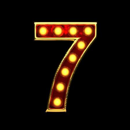 alight: 7 isolated golden letter with lights on black. 3d illustration