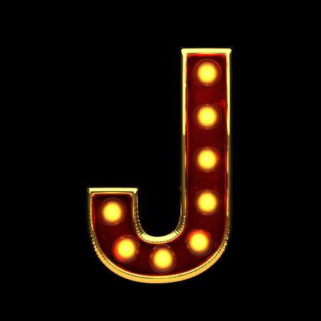 alight: j isolated golden letter with lights on black. 3d illustration