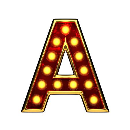 a isolated golden letter with lights on white. 3d illustration Stock Photo