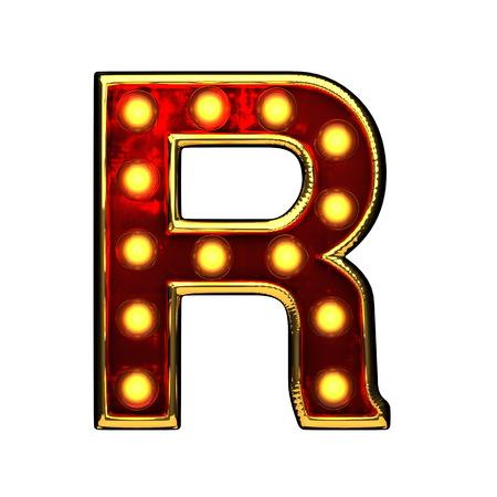 alight: r isolated golden letter with lights on white. 3d illustration