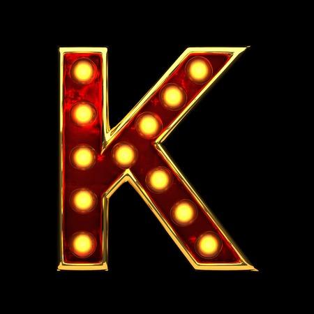 nevada: k isolated golden letter with lights on black. 3d illustration