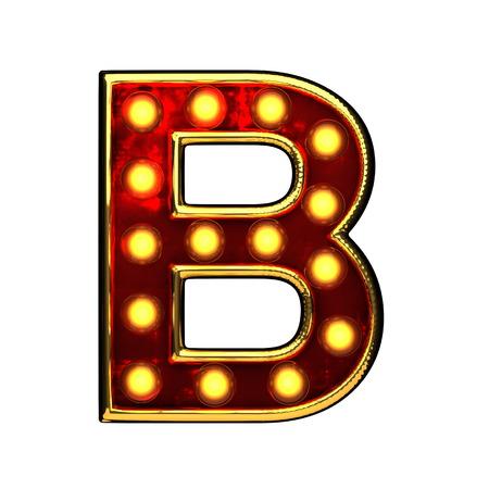 alight: b isolated golden letter with lights on white. 3d illustration