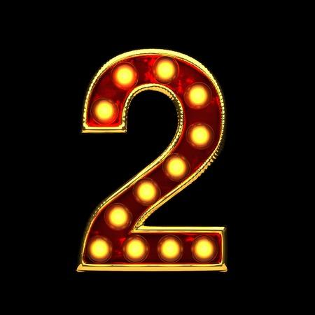 alight: 2 isolated golden letter with lights on black. 3d illustration
