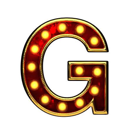 alight: g isolated golden letter with lights on white. 3d illustration Stock Photo