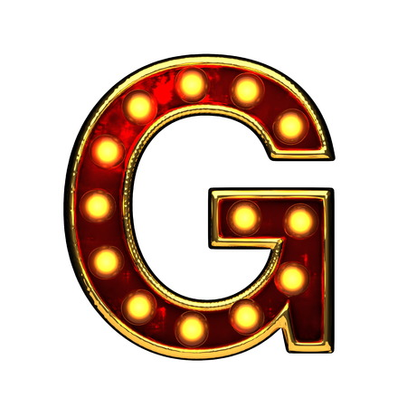 g isolated golden letter with lights on white. 3d illustration Stock Photo