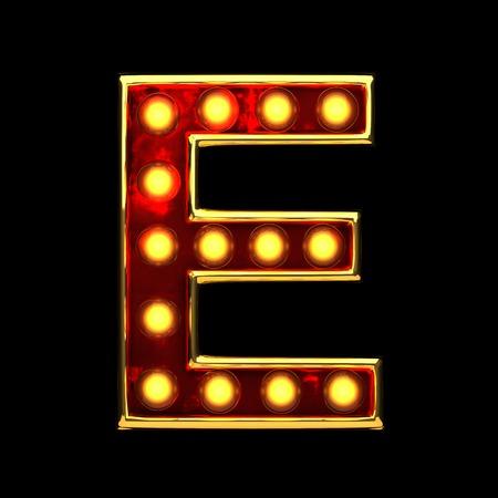alight: e isolated golden letter with lights on black. 3d illustration Stock Photo
