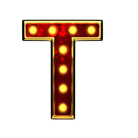 alight: t isolated golden letter with lights on white. 3d illustration Stock Photo
