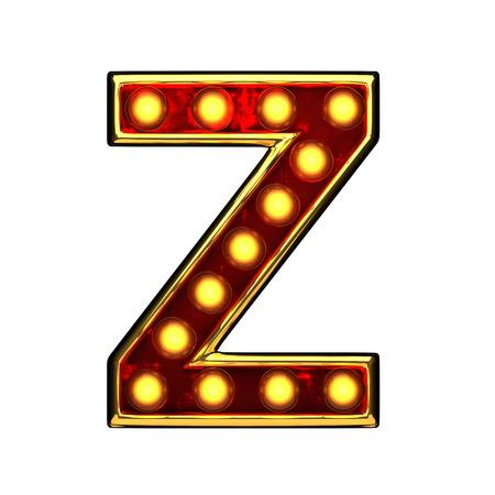 alight: z isolated golden letter with lights on white. 3d illustration