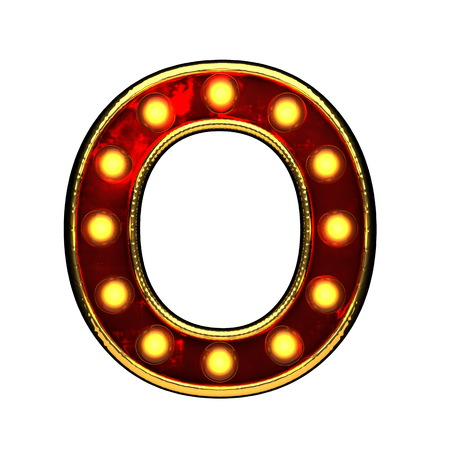 o isolated golden letter with lights on white. 3d illustration