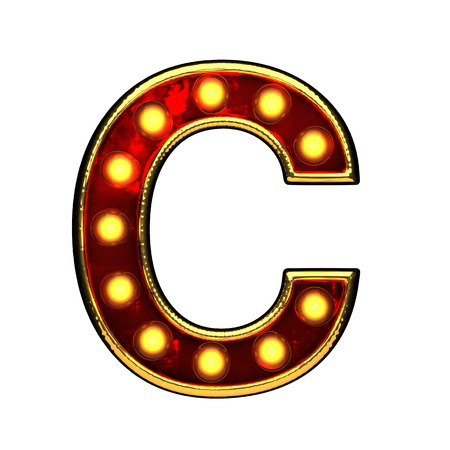 c isolated golden letter with lights on white. 3d illustration Stock Photo