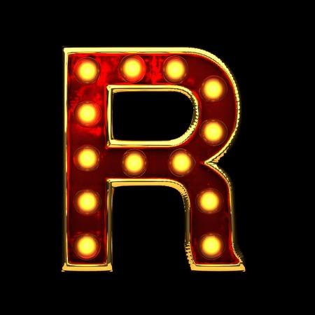 alight: r isolated golden letter with lights on black. 3d illustration