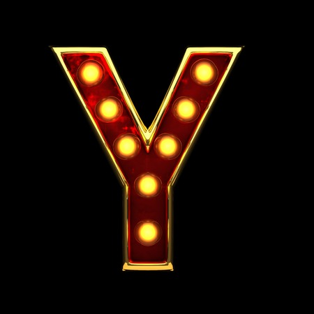 alight: y isolated golden letter with lights on black. 3d illustration