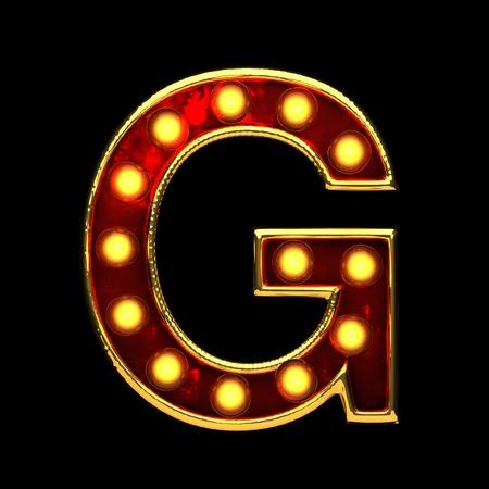 g isolated golden letter with lights on black. 3d illustration