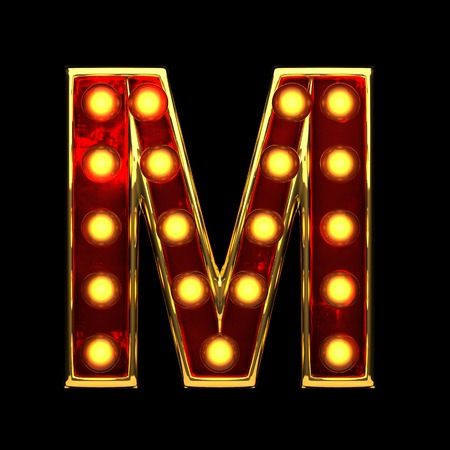 nevada: m isolated golden letter with lights on black. 3d illustration