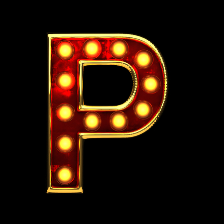 alight: p isolated golden letter with lights on black. 3d illustration