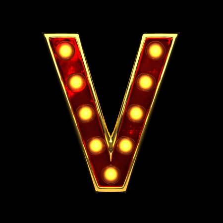 v isolated golden letter with lights on black. 3d illustration