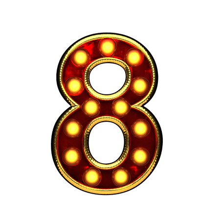 8 isolated golden letter with lights on white. 3d illustration