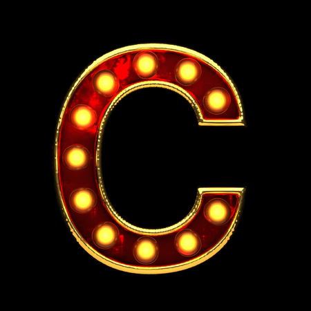 c isolated golden letter with lights on black. 3d illustration