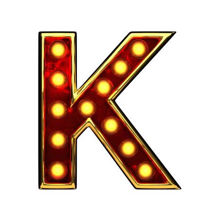 k isolated golden letter with lights on white. 3d illustration