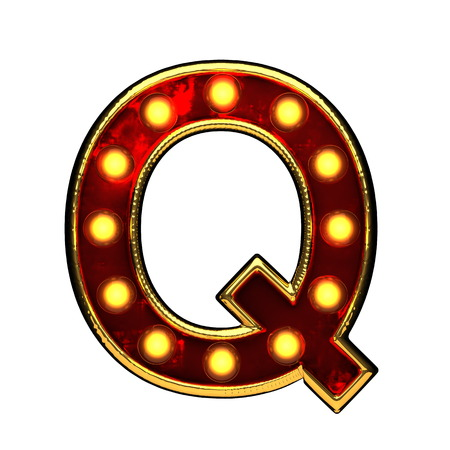 q isolated golden letter with lights on white. 3d illustration