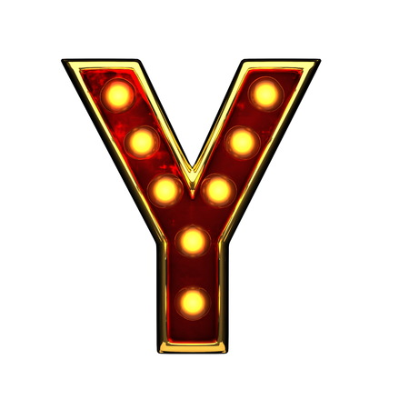 nevada: y isolated golden letter with lights on white. 3d illustration