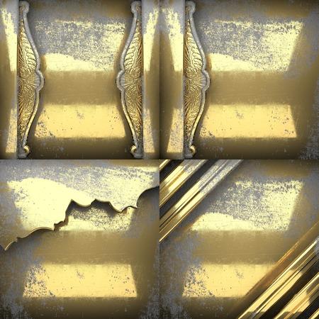antique wallpaper: golden texture background set Stock Photo