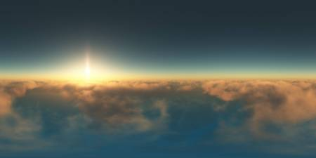 panorama above the clouds at sunset. made with one 360 degree lense without any seams. ready for virtual reality. 3D illustration