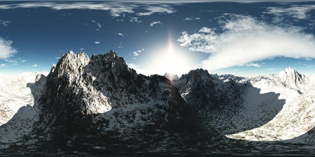 panoramic sky: panorama of mountains. made with the one 360 degree lense camera without any seams. ready for virtual reality. 3D illustration Stock Photo