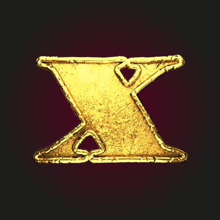 x vector golden letter