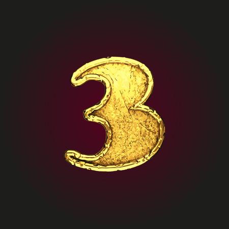 solid figure: 3 lettera d'oro vettoriale