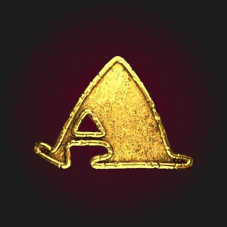 solid figure: una lettera d'oro vettoriale