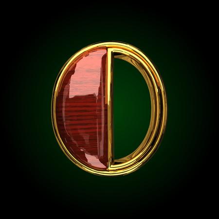 solid figure: lettera d'oro 0 vettoriale con legno rosso