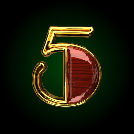 solid: 5 vector golden letter with red wood