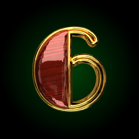 6 vector golden letter with red wood