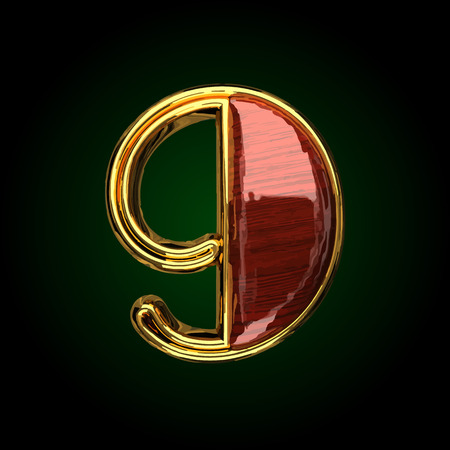9 vector golden letter with red wood