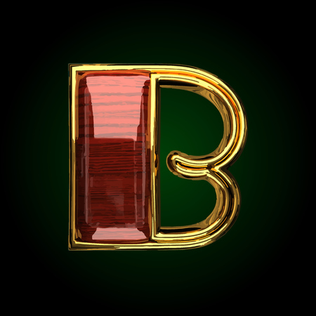b vector golden letter with red wood