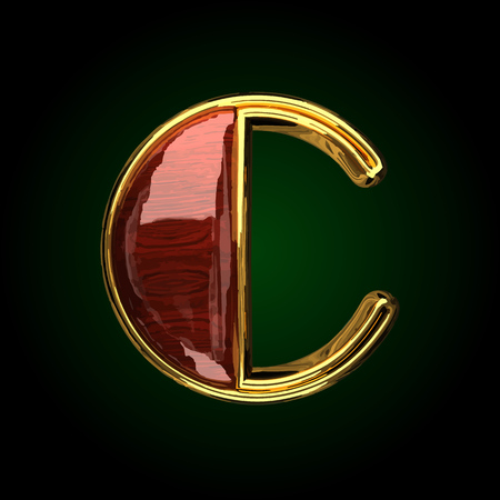 c vector golden letter with red wood Illustration