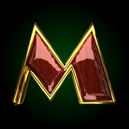 m vector golden letter with red wood