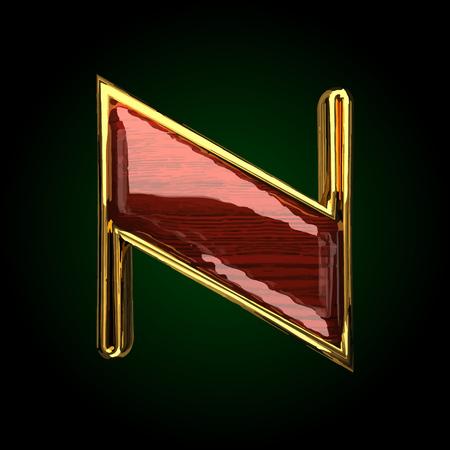 solid figure: golden letter n vettoriale con legno rosso